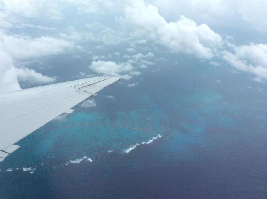 Flying over the Bahamas archipelago